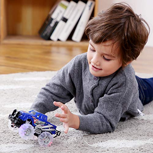 4 Pack 4 Colors Light Up Monster Truck Set with Flashing LED Wheels, Best Gift for Boy and Girl Age 3+ Years Old. Push n Go Car, Monster Car Toy for Kids Child Toddler Birthday Party Favors