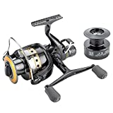 FyshFlyer Freshwater Spinning Reel Interchangeable Left/Right Handle; Double Soft Knobs; Metal Spool 9BB+1RB Perfect Carp Fishing Reel + 1 Spare Plastic Spool