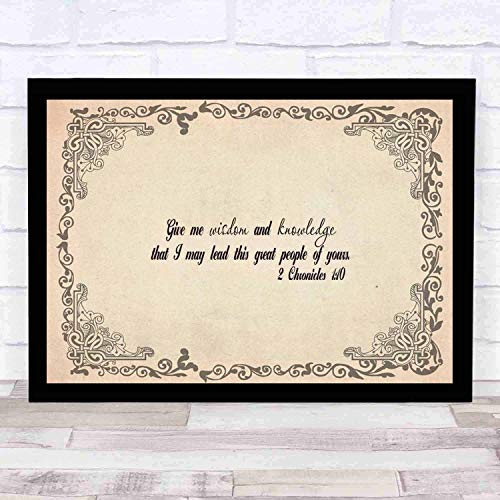 cupGTR :) Bible Wall Art-Perfect Christian Gift - with Frame - Size14x12in -Chronicles 110 Give Me Wisdom Knowledge Lead Your Great People