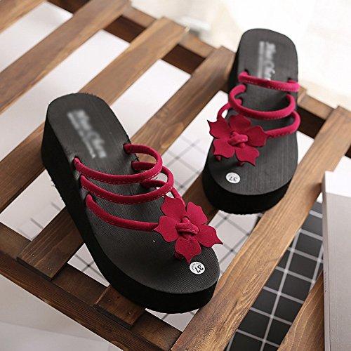 Donna DHG Antiscivolo Comoda Donna Pantofole da Estivo Piattaforma Tacco Infradito Infradito con da Comode 39 Infradito Rosso Alto Sandali 0w4q0ar