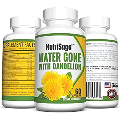 Premium Diuretic Water Pill With Dandelion - Fights Water Retention & Bloating Without The Drugs Found in Medicinal Pills - Pure & Potent Choice of Diuretics - All Natural and Safe - Order Risk Free.