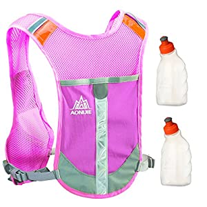 Geila Outdoors Sport Reflective Trail Marathoner Running Race Cycling Hydration Vest Pack Backpack with 2 Water Bottle (Rose Red+2 Water Bottle)