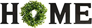 Adeeing Wooden Home Sign with Wreath as O Home Letters for Wall Decor Rustic Farmhouse Wall Hanging Wood Home Sign for Living Room Bedroom Entry Way Kitchen (Black)