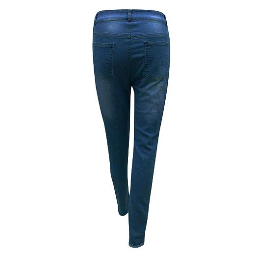 3bc457fc85768 Jean Femme Taille Haute Skinny Gland Pantalon Femme Slim Élastique Bouton  Tassel Pantalons en Jean Ample Jeans Casual Petits Pieds BaZhaHei:  Amazon.fr: ...