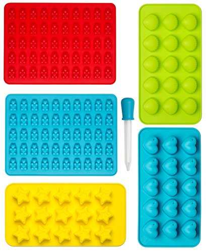 Sweets, Gummy Bear Moulds, Chocolate Silicone Moulds & Ice Cube Trays, Candy, Heart, Star and Seashell Moulds for Kids Party's, Set of 6