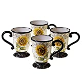 French Sunflowers 16-ounce Mugs (Set of 4) Multi