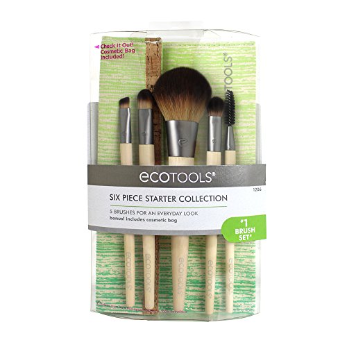 EcoTools 6 Piece Starter Set, Includes: Powder/Blush, Concealer, Full Shadow, Spoolie and Angled Liner Brushes, with Cosmetic Bag, Cruelty Free