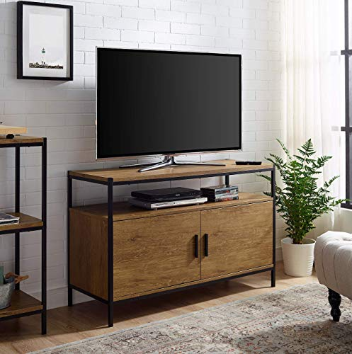 Entertainment Center TV Media Stand by Aaron Furniture Designs | with Two Doors and Storage Shelves | Sturdy | Easy Assembly | Brown Oak Wood Look Accent Furniture with Metal Frame