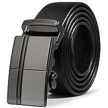 ITIEZY Leather Belt for Men Ratchet Automatic Sliding Buckle 35mm Wide