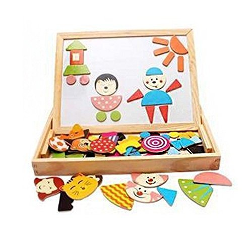 DealPort Learning & Education Magnetic Puzzle Wooden Multifunction Writing Drawing Toys Board for Kids Imagination by DealPort