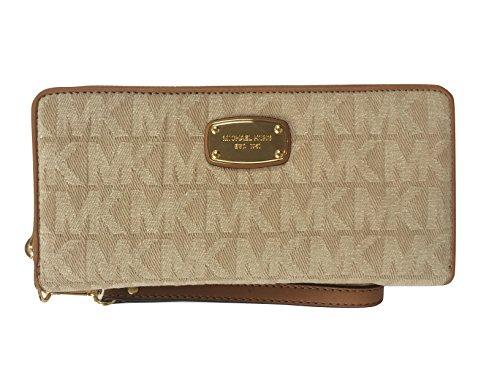 Micheal Kors Jet Set Continental Fabric/Leather Travel Wallet Wristlet Dark - Micheal Shop Kors