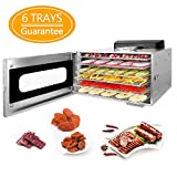 Weanas Food Dehydrator Machine Premium Countertop Stainless Steel Food Dehydrator Preset Temperature Settings, 600W Professional Household Vegetable Dryer with Digital Timer and Temperature Control (6 Trays)
