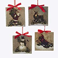"Kurt Adler YAMT2018 3.5"" Square Ornament Set of 4"