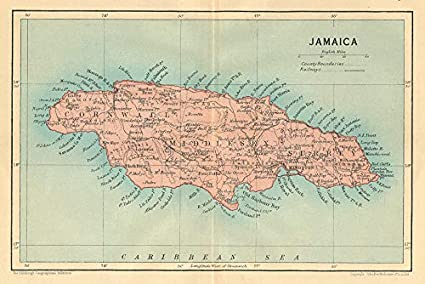 Amazon.com: Jamaica. Vintage map. West Indies. Caribbean ...