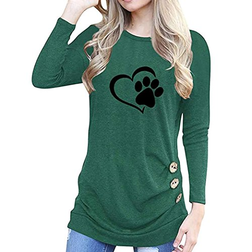 Aniywn Ladies Heart Shaped Dog Paw Print Applique O-Neck Long Sleeve Side Button Decoration -
