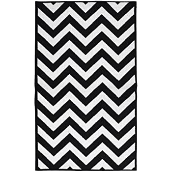 Garland Rug Chevron Area Rug, 5 By 7 Feet, Large, Black/White