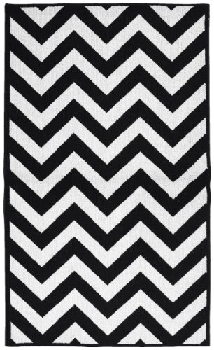 Garland Rug Chevron Area Rug, 5 by 7-Feet, Large, Black/White -