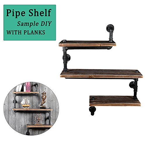 Industrial Pipe Shelf Bracket Iron Wall Mount Hung Shelving Retro Bookshelf Bookcase DIY Storage Hardware Decor for Home Improvement Kitchen Office Living Room Bathroom Farmhouse 3-Tier with Planks from andmei