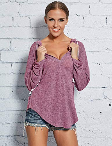 Elegante Casual Estivi Magliette off Shoulder Maniche Shirts Donna Camicetta Monocromo Basic Relaxed Ragazza Fashion Rosy Felpa Lunghe Primaverile 5tx7Hxwq