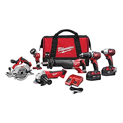 Milwaukee 2696-26 M18 Cordless LITHIUM-ION 6-Tool Combo Kit by Builders World Wholesale Distribution