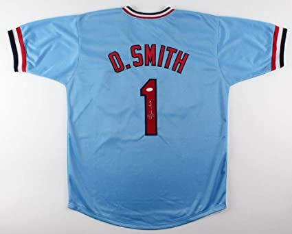 check out fbd82 9843a Ozzie Smith Autographed Signed #1 St. Louis Cardinals Blue ...