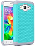 Grand Prime Case, LK [Shock Absorption] Hybrid Dual Layer Armor Defender Protective Case Cover for Samsung Galaxy Grand Prime (Teal)