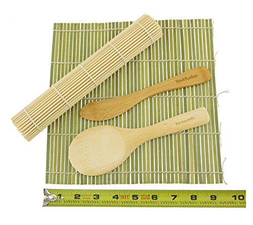 Bamboo Mat (BambooMN Brand - Sushi Rolling Kit - 2x rolling mats, 1x rice paddle, 1x spreader -)