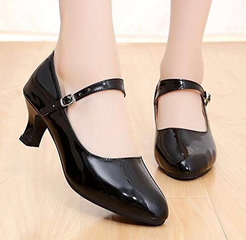 Glitter Heel Kitten 5 Waltz Heel Tango Ladies Sole PU Rubber Black Leather Ballroom Salsa Dance 5 Shoes Latin BfHvqWt