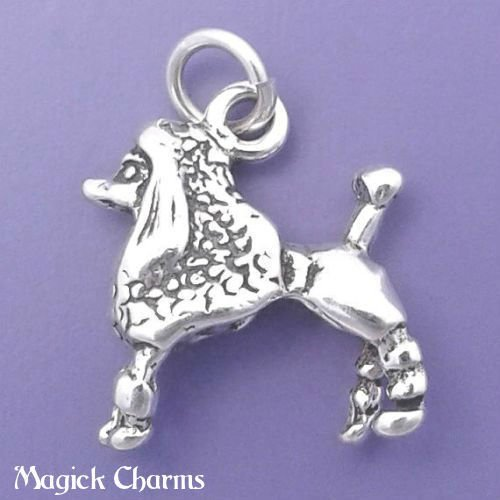 925 Sterling Silver 3-D French Poodle Dog Charm Pendant Jewelry Making Supply, Pendant, Charms, Bracelet, DIY Crafting by Wholesale Charms