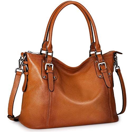 S-ZONE Women's Vintage Genuine Leather Tote Large Shoulder Bag with Zipper Pocket Outside (Medium-Brown)