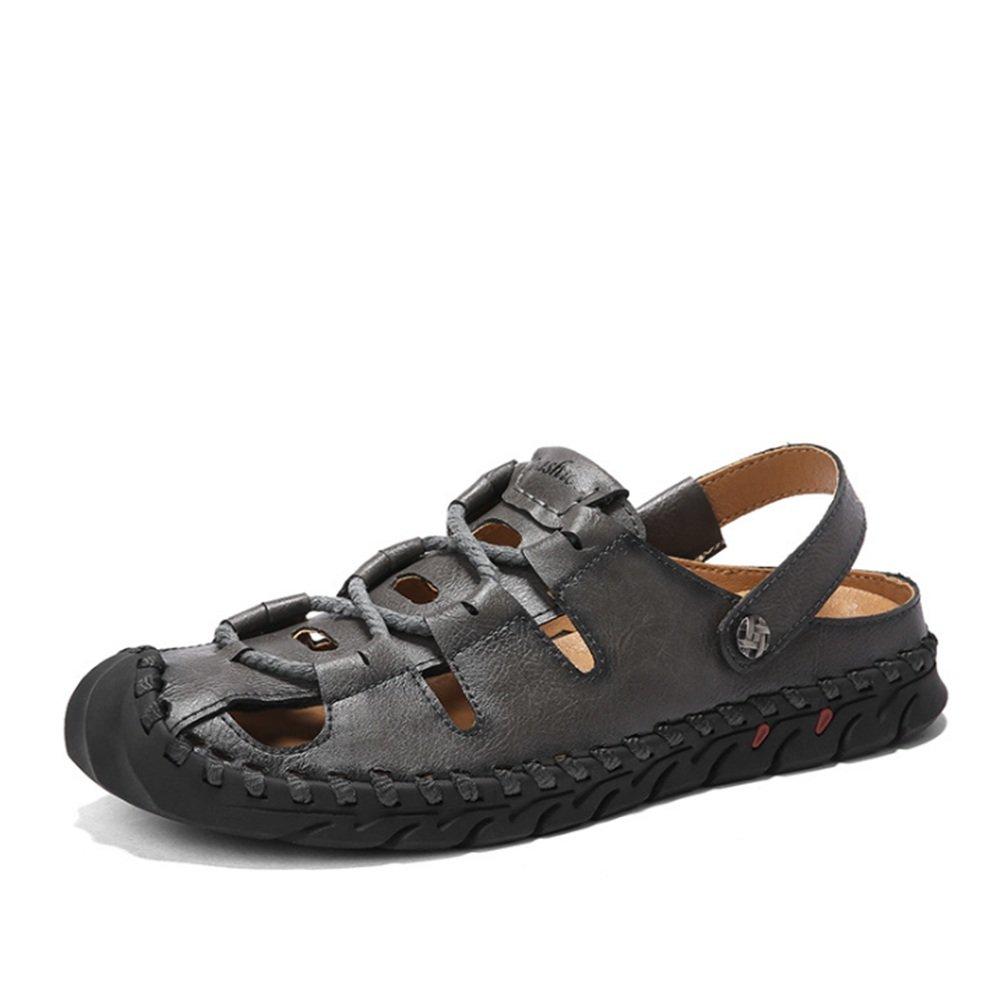 Sandalias para Hombre Zapatos Casuales Al Aire Libre Sandalias De Cuero Colisión Zapatos Transpirables 41 1/3 EU|Gris