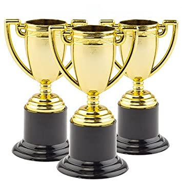 gold trophies pack of 6 for kids party bag fillers prizes and