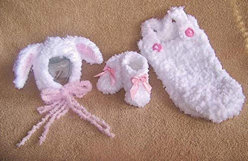 Mary Had A Little Lamb Costume Baby Bonnet, Overalls And Booties Gift Set White Pink 3 Piece