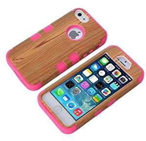 Canica-5S10 3in1 Wooden Pattern Hybrid Cover Case Suitable Fit For iPhone 5 5S Rose