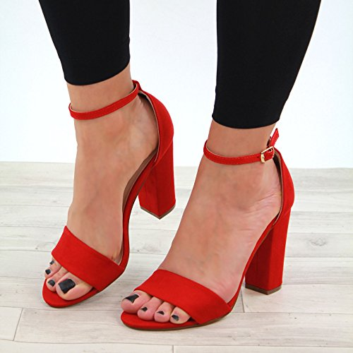 Larena Fashion New Womens High Block Heel Sandals Peep Toe Buckle Ankle Strap Shoes Sizes Red OJob42