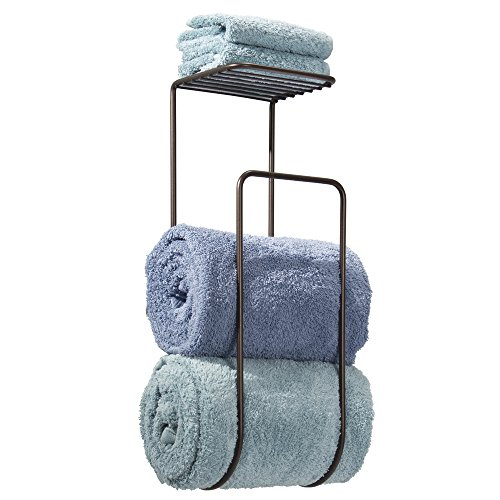 Wall Mount Towel Rack Holder and Organizer with Storage Shelf for Bathroom Organizing of Washcloths, Hand/Face or Bath Towels, Beach Towels - Bronze ()