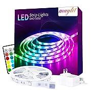 #LightningDeal LED Strip Lights, 16.4ft RGB LED Light Strip 5050 Color Changing Strip Lights for Bedroom, 24key Remote and 12V Power Supply, LED Lights for Room Mood Light for TV, Kitchen Home Deck