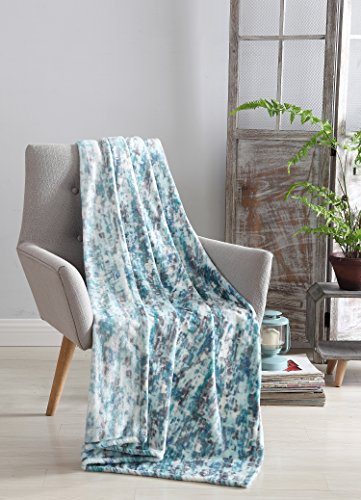 "Decorative Hues of Blue Throw Blanket: Soft Plush Velvet Fleece Abstract ""Rain"" Accent for Couch or Bed, Colored: Navy Teal Blue Aqua Turquoise Grey White VCNY Rain"
