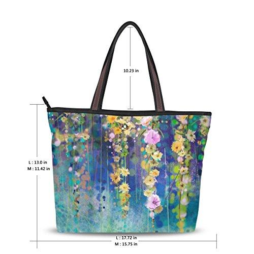 De Abstrait Fleurs Sac tout Fourre Printemps Moyen Floral Épaule Aquarelle Alaza 6fBwgq