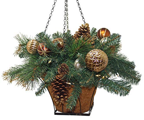 Holiday Wonderland Equinox 2 CHC-HB-14PW Artificial Hanging Basket with Copper, Chocolate and Pearl Ornament Balls and Pine Cones, 23-Inch, Cappuccino (Hanging Lighted Baskets)