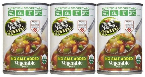 Health Valley Organic Vegetable Soup, No Salt, 15 oz, 3 pk