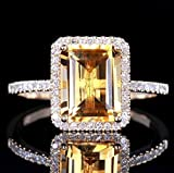 Fashion Women Jewelry 925 Silver Citrine Wedding Jewelry Ring Gift Size (8)