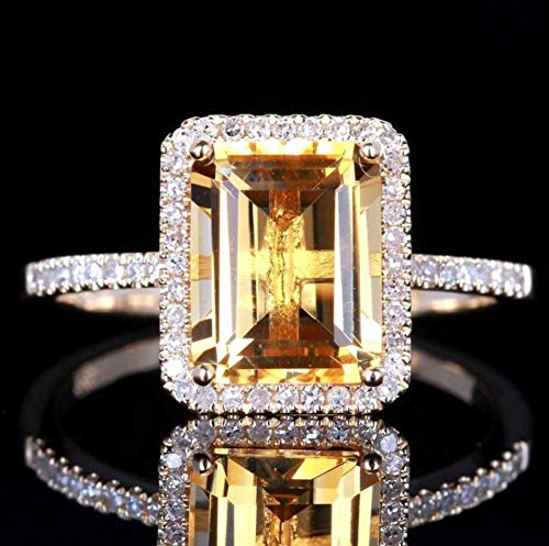 Fashion Women Jewelry 925 Silver Citrine Wedding Jewelry Ring Gift (Size 7#)