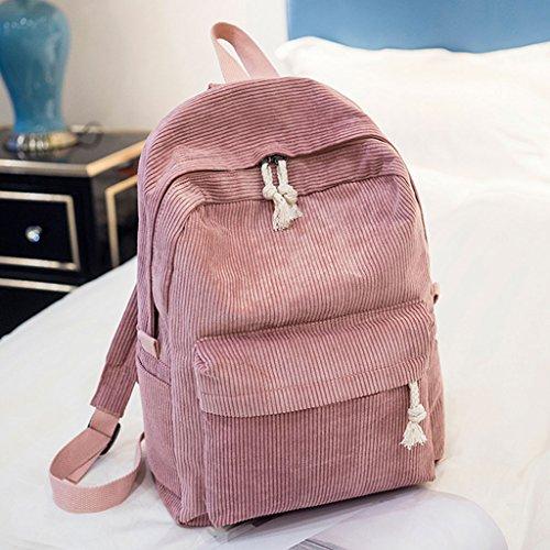 Women Corduroy Students School Pink Rucksack JAGENIE Girls Bags Fashion Gray Backpack Light 5wqnIFp