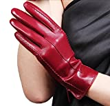 HOMEE Ladies Warm Fashion Leather Gloves Short Fashion Classic 12 Colors,A,X-Large