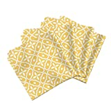 Roostery Mosaic Tile Linen Cotton Dinner Napkins Mosaic - Sunshine by Inscribed Here Set of 4 Cotton Dinner Napkins Made