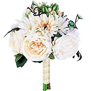 Bridal Wedding Bouquet Artificial Bride Bridesmaid Bouquets Handmade Vintage Rustic Style Satin Roses Wedding Holding Flower Ivory Big 73