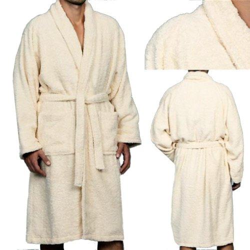 MARRIKAS Unisex LARGE Egyptian Cotton Quality CREAM ROBE - Marrikas Mens Robe
