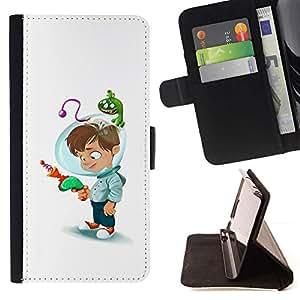 Momo Phone Case / Flip Funda de Cuero Case Cover - Kid Casco pistola láser Madres de Niños - HTC One M7