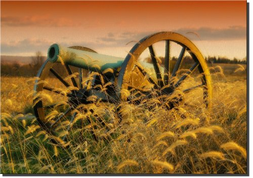 Civil War Cannon Pictures - Civil War Cannon Picture on Stretched Canvas Wall Decor Art Sign, Ready to Hang!